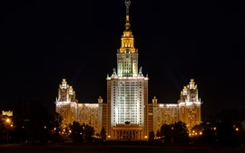 Preview wallpaper Moscow, University, buildings, night, lights