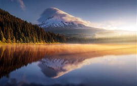 Mountains, forest, fog, lake, water reflection