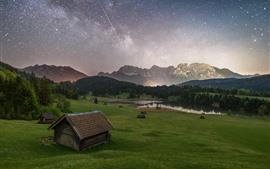 산, 헛, 나무, 별이 빛나는, 하늘, 별