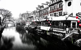 Preview wallpaper Nanjing, snowing, winter, river, house, retro style