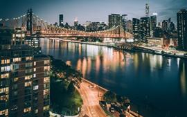 New York, USA, bridge, illumination, river, city nightscape