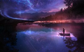 Preview wallpaper Night, river, boat, man, starry, stars, fantasy, creative