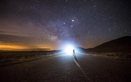 Nuit, route, éblouissement, lumière, étoiles, ciel