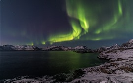 Preview wallpaper Northern light, night, sea, mountains, snow, winter