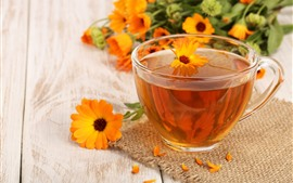 Preview wallpaper One cup of tea, calendula
