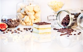 Preview wallpaper One slice chocolate cake, coffee beans, fig