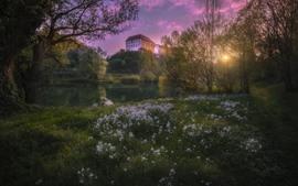Preview wallpaper Ozalj Castle, Karlovac, Croatia, flowers, spring