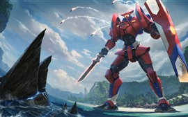 Preview wallpaper Pacific Rim, sword, shield, art picture