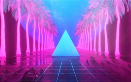 Preview wallpaper Palm trees, triangle, neon, art design