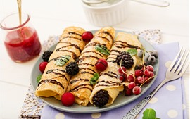 Preview wallpaper Pancake rolls, berries, meal, jam, fork