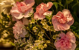 Pink roses and other flowers