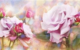 Rosas rosadas, textura, estilo de arte