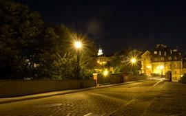 Polônia, lublin, noturna, luzes, estrada, edifícios