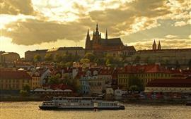 壁紙のプレビュー プラハ、チェコ共和国、ヴルタヴァー、市、住宅、夕暮れ