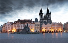 Preview wallpaper Prague, Czech Republic, city, square, buildings, dusk, lights