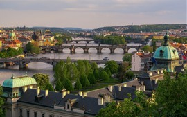 미리보기 배경 화면 프라하, 체코, 강, 다리, 도시, 주택