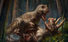 Preview wallpaper Prehistoric animals, dinosaurs, triceratops, tyrannosaurus, art picture