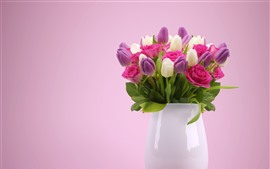 Preview wallpaper Purple and white tulips, pink rose, vase
