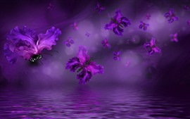Preview wallpaper Purple wings butterfly, flowers petals, creative
