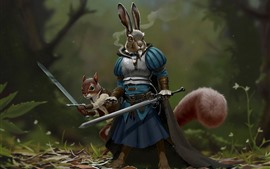 Guerreiro de coelho, espada, armadura, imagem criativa