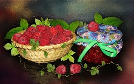 Preview wallpaper Raspberry, basket, jam, still life