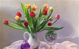 Preview wallpaper Red and orange tulips, vase, table