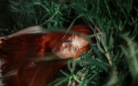Red hair girl, freckles, face, grass