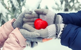 Corazón de amor rojo, manos, invierno