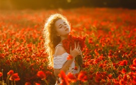 Preview wallpaper Red poppies flowers, blonde girl, sunshine