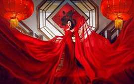 Preview wallpaper Red skirt Chinese girl, lantern, art photography
