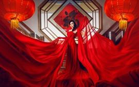 Saia vermelha menina chinesa, lanterna, fotografia de arte