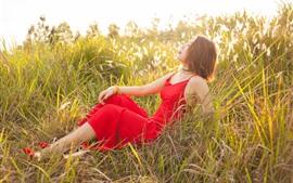 Aperçu fond d'écran Fille jupe rouge, herbe, été