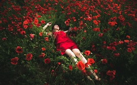 Preview wallpaper Red skirt girl sleep in red poppies