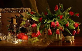 Preview wallpaper Red tulips, apple, grapes, fruit, still life