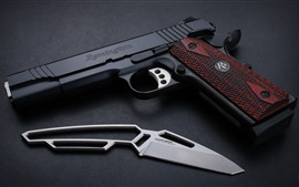 Preview wallpaper Remington M1911 pistol, gun, knife, weapon