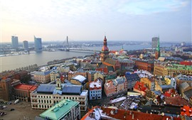 Preview wallpaper Riga, Latvia, city view, river, bridge, houses