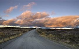 Estrada, grama, nuvens, natureza, crepúsculo