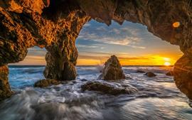 Rochas, mar, pôr do sol, ondas