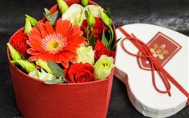 Preview wallpaper Roses, gerberas, love heart, box