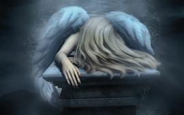 Tristeza angel, chica, cabello, alas