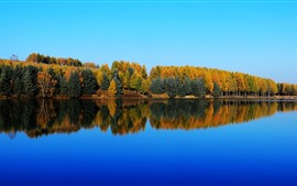 Saihanba, Shenlongtan, árvores, lago, reflexão da água, outono