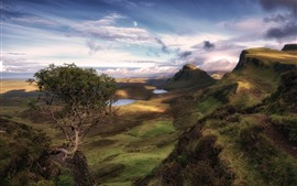 Preview wallpaper Scotland, Isle of Skye, trees, lake, clouds, moon