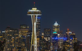 Preview wallpaper Seattle, city at night, buildings, tower, lights, USA