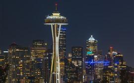 Сиэтл, город ночью, здания, башня, огни, США