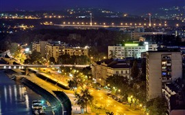Сербия, Нови-Сад, город, ночь, река, огни