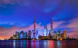 Shanghai Bund, arranha-céus, noite, luzes, rio, China