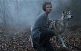 Preview wallpaper Short hair girl and wolf, fog, morning