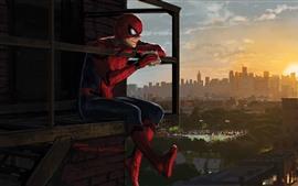 壁紙のプレビュー スパイダーマン、サンドイッチ、街、アート写真を食べる
