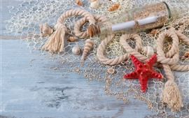 Preview wallpaper Starfish, rope, seashell, bottle, sands