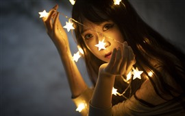 Preview wallpaper Stars lights, girl, face, hazy